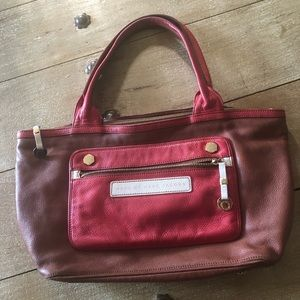 Marc by Marc Jacobs brown red leather tote bag